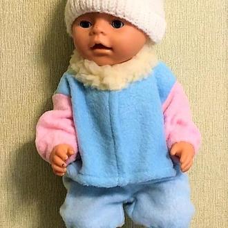 Теплый костюм голубой с розовым и с шапочкой на Беби Борн.