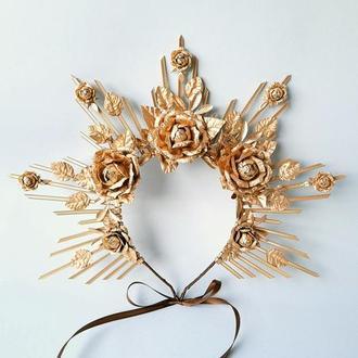 Золотая корона для фотосессии Корона богини
