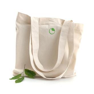 Бежевая эко сумка с вышивкой, Шопер с магнитной кнопкой и карманом Сумка с саржи