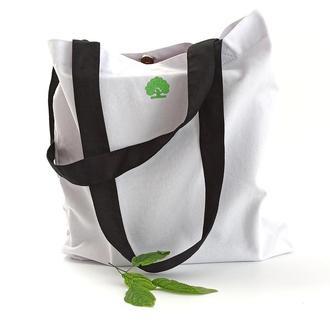 Белая экосумка с черными ручками, Сумка шоппер с вышивкой, Эко сумка, сумка для покупок,