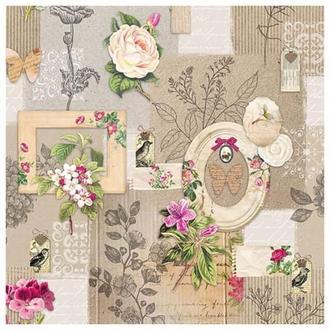 Салфетка Рамки и цветы 33 см