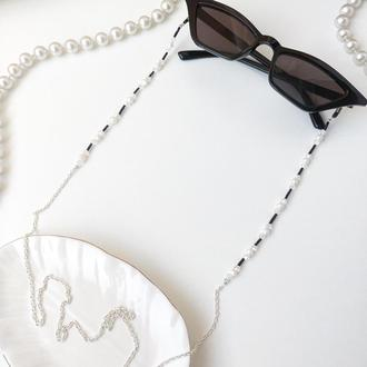 Цепочка на очки ручной работы с натуральным жемчугом