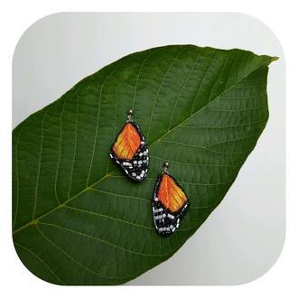 сережки з вишивкою/сережки вишиті/серги с вышивкой/серги бабочка/сережки метелики
