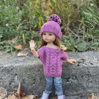 Вязаный комплект шапочка и свитер для куклы Паола Рейна 32 см, Одежда для Paola Reina
