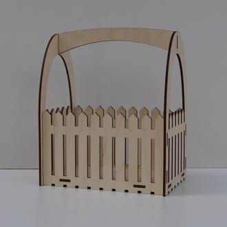 Декоративний деревянный ящик. Ящик кашпо для цветов. Деревянная коробка для подарка. Подарочный бокс