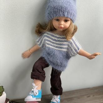 Вязаный комплект одежды шапка и туника доя куклы Паола Рейна 32 см
