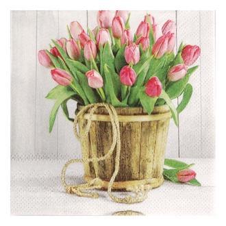 Салфетка Тюльпаны в кадке 25х25 см