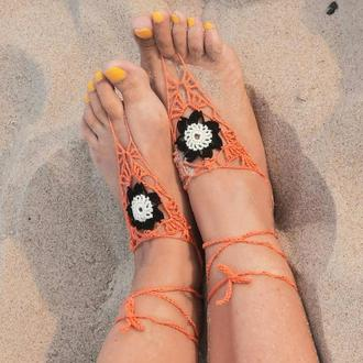 Восточные украшения на ноги Слейв браслет парные вязаные