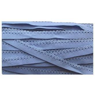Лента кружевная стрейчевая голубая 1 см