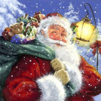 Салфетка Санта с мешком подарков 2-6994