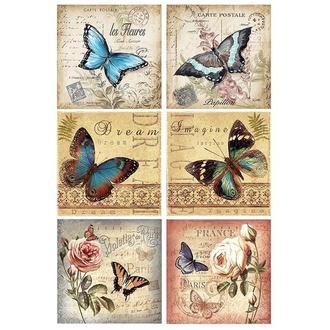 Бумага для декупажа 21х30 см Шесть бабочек