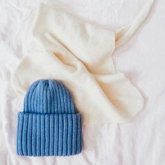Вазаная шапка из мериносовой шерсти
