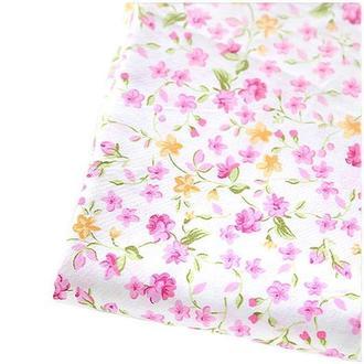 Ткань 50х50 см белая Розовые цветочки