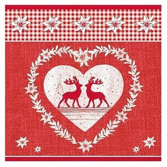 Салфетка Сердечко с оленями 2-7062