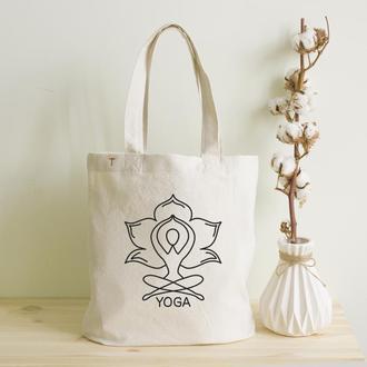 Эко сумка Шоппер (Органика) из мягкого Хлопка с рисунком Йога символ