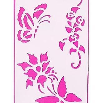 """Трафарет """"Цветы и бабочки"""" 11 х 33 см"""