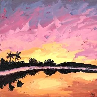 """Картина """"Закат на Гавайях"""", масло 25х25 см"""