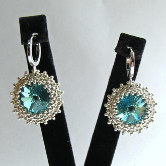 Бирюзовые цветочные серебряные серьги с кристаллами Swarovski