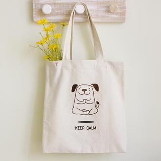 Эко сумка Шоппер (Органика) из мягкого Хлопка с рисунком Йога-собака