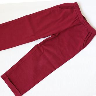 Льняные брюки (органические) с карманами. Базовые вишневые льняные брюки (ВЫБОР ЦВЕТА)