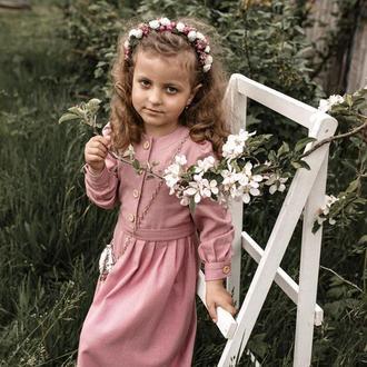 Платье для девочек Льняное платье (Органическое) Девушки льняное платье