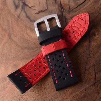 Заказать ремешок кожаный ручной работы с дырками перфорированный Черная и красная кожа Крейзи Хорс