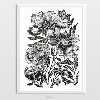 Інтер'єрна картина(гравюра) «Півонії» в стилі ботаніка