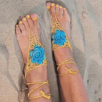 Украшение на ногу Желтый с голубым цветком слейв браслет
