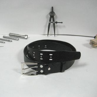 010 M BL 38 DOUBLE Мужской черный ремень с никелированой пряжкой на два язычка и гладкой изнанкой
