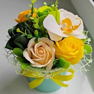 Мильні квіти, букет з мильних троянд, композиція квіти з мила, троянди з мила модель № 59