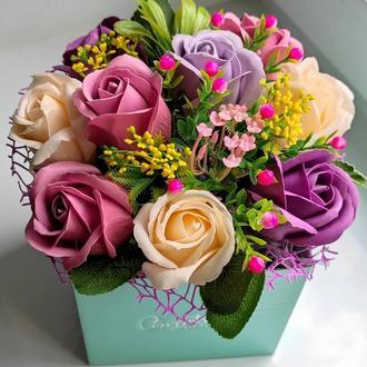 Мильні квіти, букет з мильних троянд, композиція квіти з мила, троянди з мила модель № 57