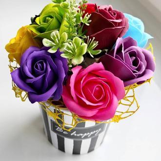 Мильні квіти, букет з мильних троянд, композиція квіти з мила, троянди з мила модель № 53