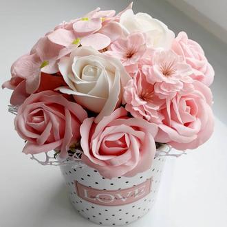 Мильні квіти, букет з мильних троянд, композиція квіти з мила, троянди з мила модель № 47