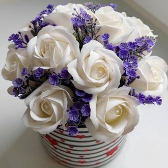 Мыльные цветы, букет из мыльных роз, композиция цветы из мыла, розы из мыла модель № 54