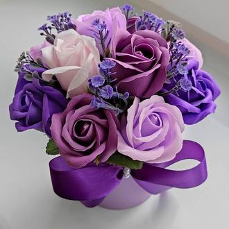 Мыльные цветы, букет из мыльных роз, композиция цветы из мыла, розы из мыла модель № 56