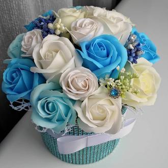 Мильні квіти, букет з мильних троянд, композиція квіти з мила, троянди з мила № 46 'Лазурна ніжність