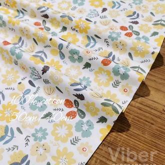 Ткань хлопок для рукоделия желтые цветочки