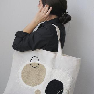 Женская сумка-шоппер с ковровой вышивкой / Сумка-тоте