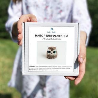 """Набор """"Милый Совенок"""", набор для творчества, набор для фелтинга, валяние, мастер-класс, сова"""