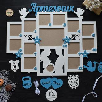 """Детская фоторамка - метрика с рамкой для снимка УЗИ """"Первый годик"""", из дерева"""