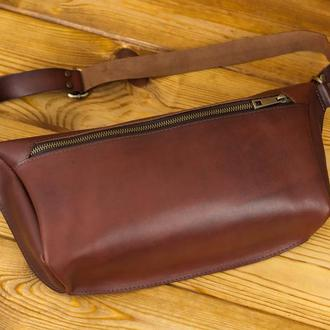 """Мужская кожаная сумка """"модель №55"""", кожа итальянский краст, цвет вишня"""