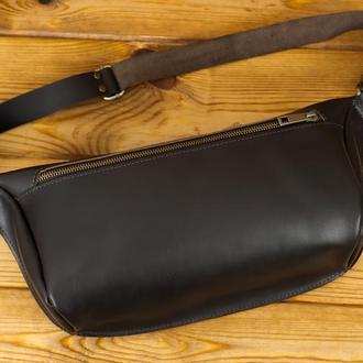 """Мужская кожаная сумка """"модель №55"""", кожа итальянский краст, цвет кофе"""