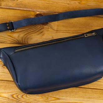 """Мужская кожаная сумка """"модель №55"""", кожа итальянский краст, цвет синий"""