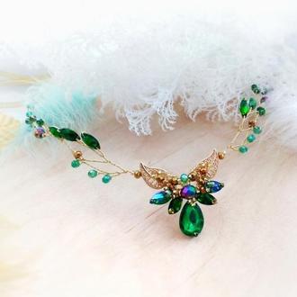 Эльфийский лотос - диадема ветка обруч ободок налобное украшение зелёный золотой эльф косплей