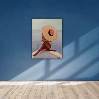 Девушка в шляпе на пляже картина маслом