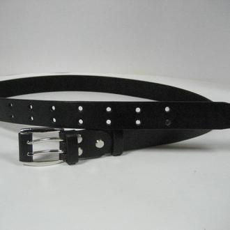 011 W BL 30 DOUBLE Женский черный ремень с никелированой пряжкой на два язычка и кожаной всавкой