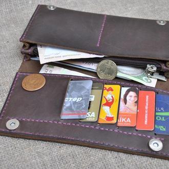 Шикарный кошелек шоколадного цвета из натуральной кожи K41-450+purple