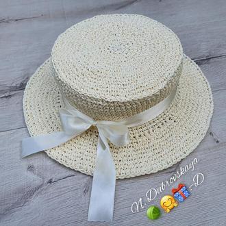 Детская шляпа молочного цвета из рафии,  ручная работа