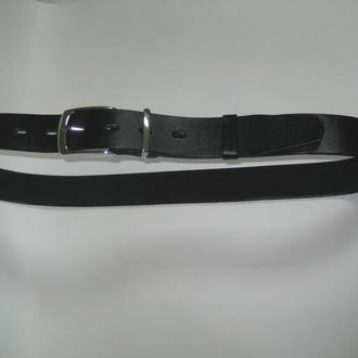 012 M BL38 Мужской черный кожанный ремень 38 мм с литой никелированной пряжкой и тренчиком