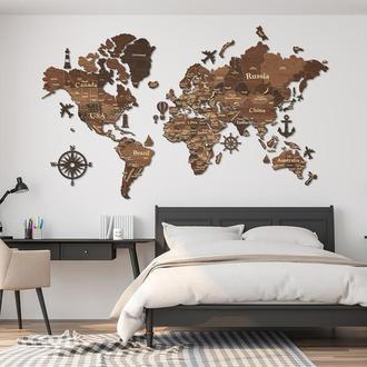 Багатошарова дерев'яна мапа світу з 3Д ефектом